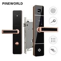 PINEWORLD биометрический замок отпечатков пальцев, умный электронный замок, проверка отпечатков пальцев с паролем и RFID ключ разблокировки