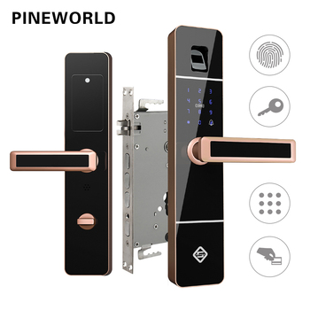 цена на PINEWORLD Biometric Fingerprint Door Lock,Intelligent Electronic Lock,Fingerprint Verification With Password & RFID Key Unlock