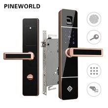 PINEWORLD biométrico de huellas dactilares bloqueo de la puerta inteligente cerradura electrónica de huellas dactilares de verificación con contraseña y RFID llave abre