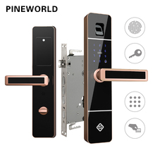 PINEWORLD serrure de porte biométrique à empreinte digitale, serrure électronique intelligente avec mot de passe et clé RFID, vérification par empreinte digitale