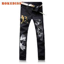 Men's casual slim straight wolf print black denim jeans casual painted pants Long trousers Printed Jeans For Men plus size G227