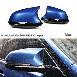 M3 M4 wygląd dla BMW F20 X1E84 M2 F87 lustro pokrywa 1 2 3 4 serii F36 F22 F30 z tyłu widok węgla 6 sztuk połysk czarny w Lusterko i pokrowce od Samochody i motocykle na