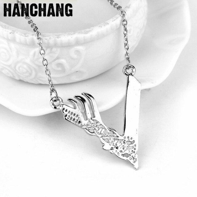 Horror Viking Logo Angel Wing Pendant Necklace Silver Color Warding