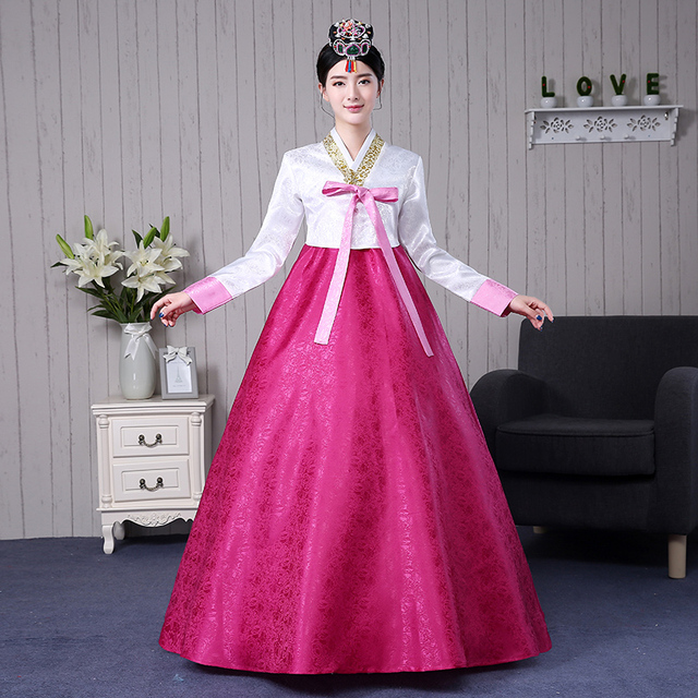 7 Colors Korean Traditional Clothing Cotton Hanbok Costumes Women Asian Style Dresses Dress Dance