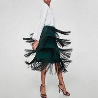 Dower Me Green Tiered Fringe Pencil Skirt Women Plain High Waist Tassel Skirt 2018 Summer Office Vintage Elegant Midi Skirt