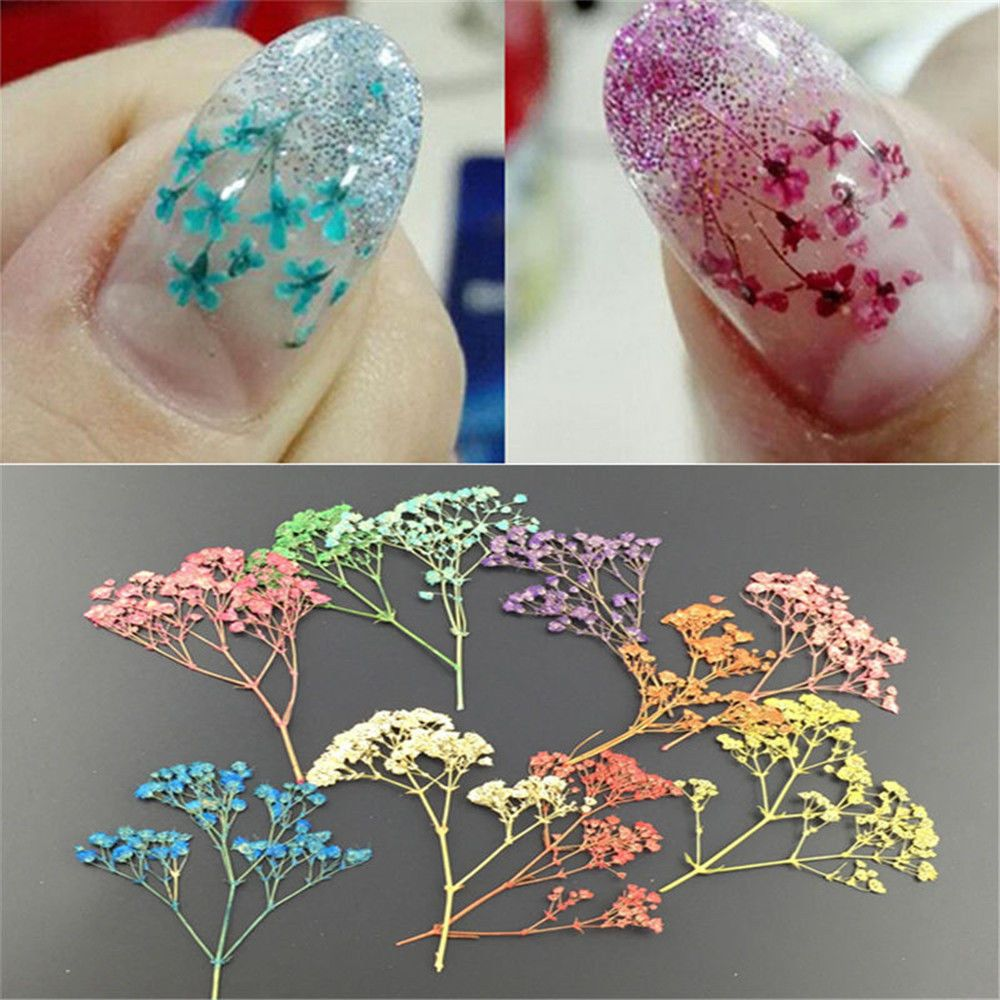 TOPHOT 1 Bag New Designs Mixed Dried Flowers 3D Charm Manicure Sticker Nail Decals Light Color Bouquet Stencils Nail Art Decor недорого
