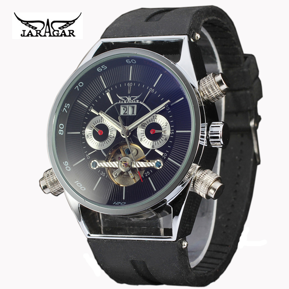 ФОТО Watch Men  JARAGAR Casual Tourbillion Day Automatic Mechanical Men's Watch relogio masculino Gift