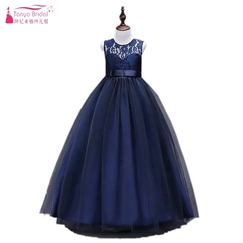 Navy Blue Floor Length   Flower     Girl     Dresses   For Weddings Lace Pageant   Dresses   For   Girls   Formal Kids Party Ball Gown DQG431