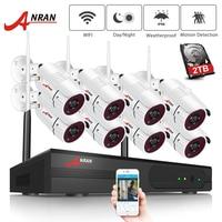 ANRAN 8 каналов 1080 P HDMI WiFi NVR комплект 6 шт. 2MP Full HD 36IR светодиоды наружная защищенная от атмосферных воздействий cctv камера система беспроводная IP ...