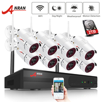 ANRAN 8 Channel 1080P HDMI WiFi NVR Kit 8PCS 2MP Full HD 36IR Leds Outdoor Weatherproof CCTV Camera System Wireless IP Camera