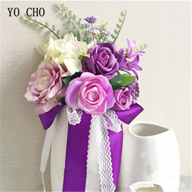 YO CHO Silk Artificial Purple Rose Flower Wedding Party Windows ...