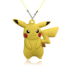1PCS New Cartoon Cute Pikachu PVC Pendant Necklaces Party Favor Rope Chain for Girls Boys Fashion Jewelry Kids Xmas Gift(China)