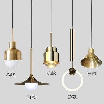 Eropa Nordic Small Tembaga Kuningan Pendant Light Lampu LED Golden Modern Liontin Lampu Lampu Kamar Tidur Makan Bar LED Pendant Light