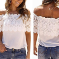 Fashion popular Women Lace Pure Pattern Tops blouses Crochet Off The word Shoulder Tops For Girl Short shirts
