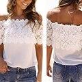 Patrón de moda de Las Mujeres populares de Encaje Pura Tops blusas Ganchillo De La palabra Hombro Tops Para La Muchacha camisas Cortas