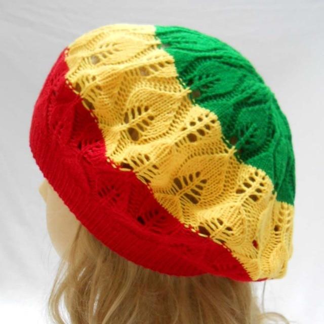 Rasta Tam Beret Hat Crochet Knit Reggae Marley Jamaica Rastafari