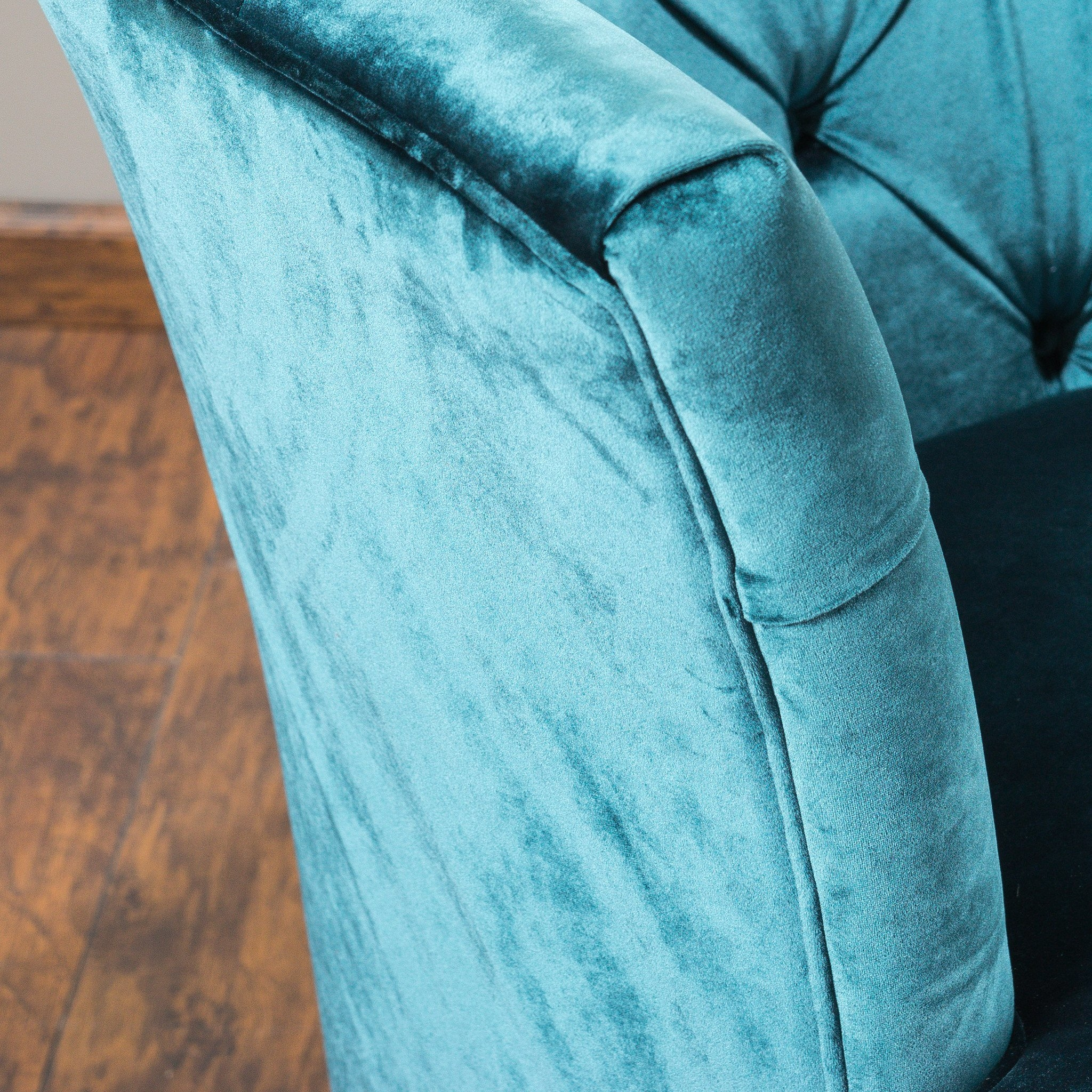 Anabella Teal Blue Velvet Tufted Sofa Chair In Living Room