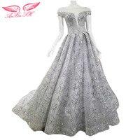 AnXin SH Princess Grey Lace Evening Dress Vintage Shinning Grey Evening Dress Lace Grey Silver Evening