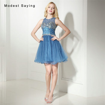 709e4e2304885 Lüks Mavi Bir Çizgi Taklidi Kısa Homecoming Elbise 2017 Kızlar Mini 8th  sınıf Mezuniyet Balo Abiye vestido de formatura curto