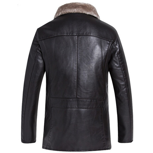 Men Fashion Leather Jacket Fur Collar Short Paragraph Slim Large Size Warm Winter Jacket Men Leather Jacket Coat Brand New