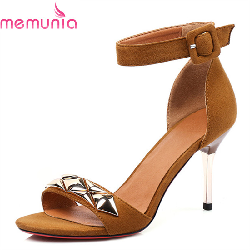 MEMUNIA new arrival shoes woman fashion buckle rivets party shoes in summer sandals women high thin heels size 34-39 asumer spuer heels shoes woman sexy lady fashion summer shoes flock buckle solid party shoes open toed women sandals size 34 43