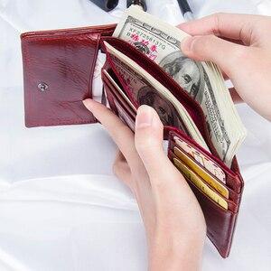 Image 4 - Модный короткий кошелек Contacts для женщин, маленький бумажник из натуральной кожи с rfid защитой и застежкой, кредитница, бумажники для женщин