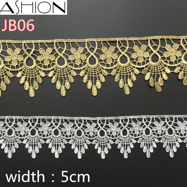 3 yards Width 50mm Crown gear gold and silver Water soluble Embroidery Lace  trim Sewing Fabric