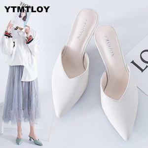 White Spring Office Shoes Women High Heels Pump 5CM Slip on Sandals Sandalias Comfortable Ladies Tenis White High Heels(China)