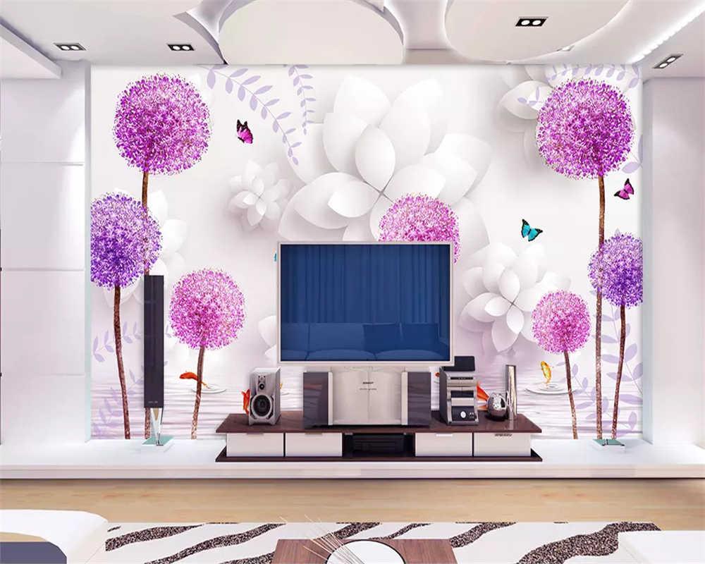 Beibehang Tiga Dimensi Klasik Estetika Wallpaper Bunga Ungu Dandelion Refleksi Air 3D TV Latar Belakang Kertas.jpg q50