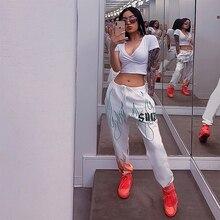 дешево!  Новые женские Новые Белые Штаны Тенденция Flame Printing Повседневные Штаны Луча женские Шаровары