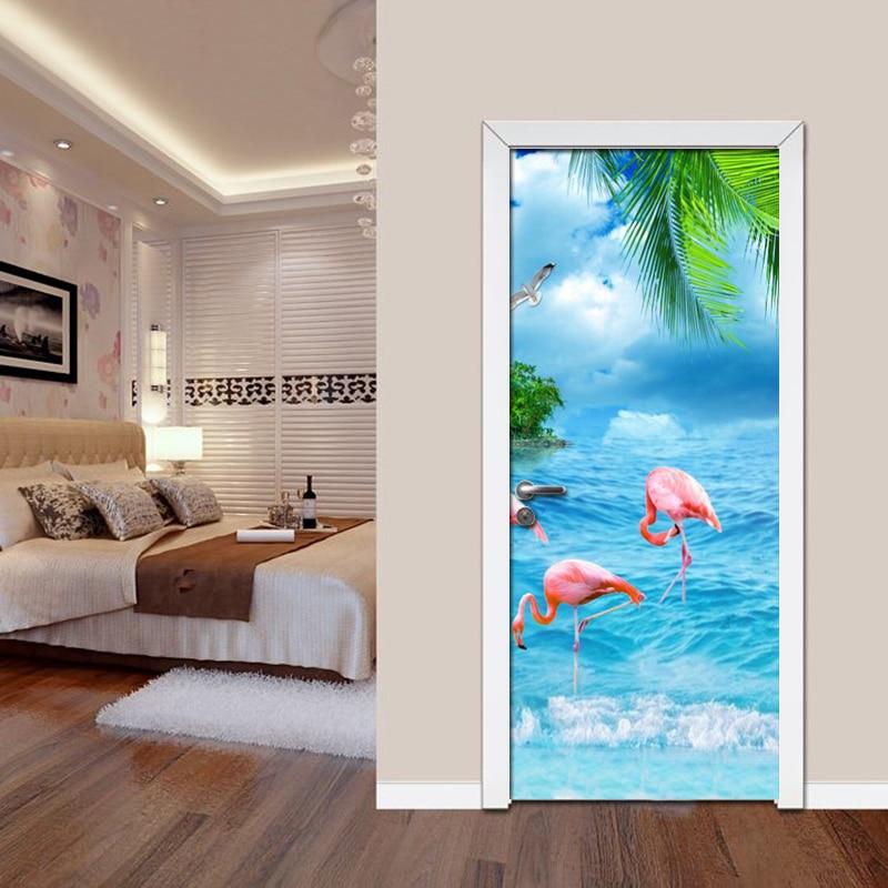 DIY 3D Unicorn Door Wall Sticker PVC Self adhesive Waterproof Wallpaper Mural