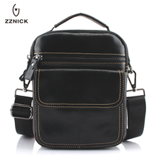 ZZNICK Mens Bags Genuine Leather male Crossbody Bags strap Small Casual Flap Men Leather messenger bag mens shoulder bag 0051*