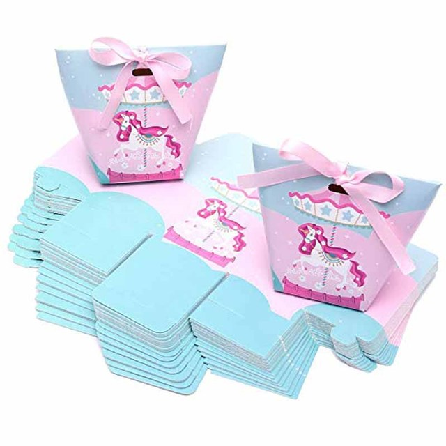30pcs Unicorn Candy Box Gifts Bag Chocolate Package For Wedding Bridal Baby Shower First Birthday Gender Reveal Decoration Favor