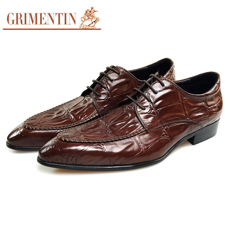 Sapatos Formais Couro Grimentin Designer Se De Genuíno Marrom Brown Vestem Negócios Homens x0YwYFv7q