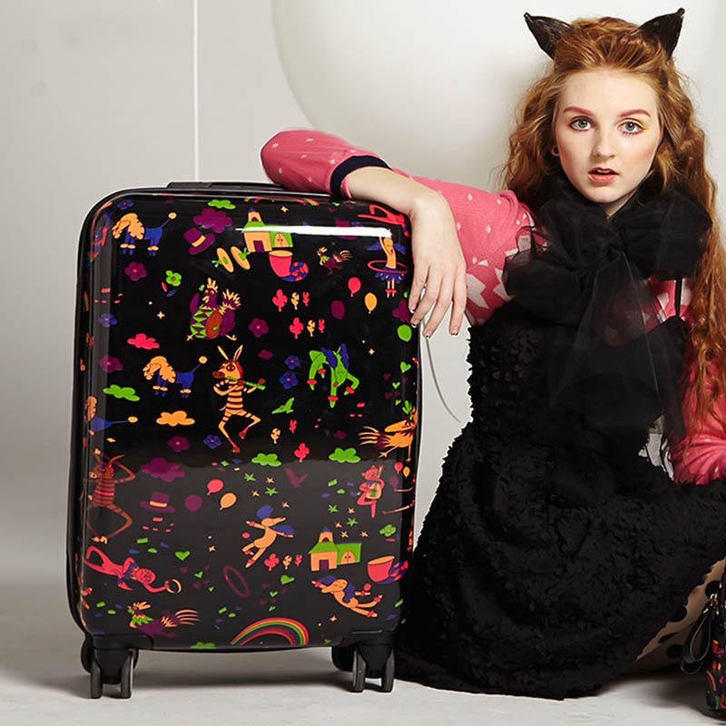 LeTrend Creative Cute doodle Rolling Luggage Spinner Cartoon Password Suitcase Wheels 20 inch Women Carry on