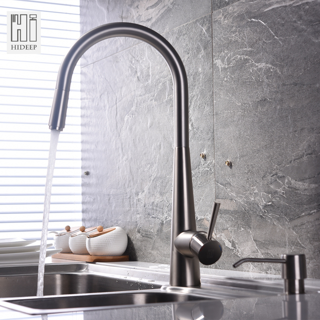 Hideep 304 Stainless Steel Kitchen Faucet Pull Out Spray Hot Cold