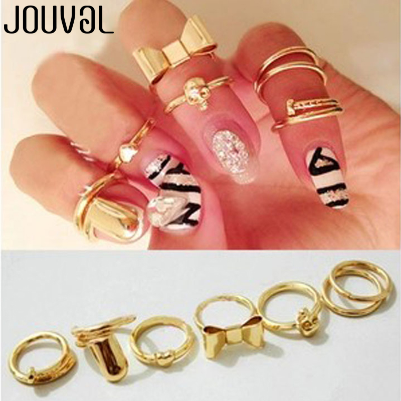 JOUVAL New 7Pcs Punk Gold Color Bowknot Cross Nail Simple Band Mid Finger Knuckle Stacking Rings Set for Women Jewelry