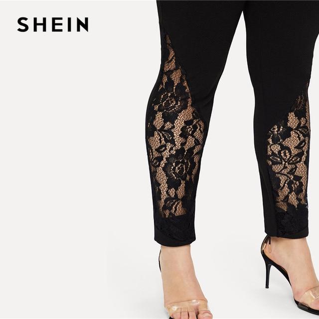 SHEIN Black Casual Elastic Mid Waist Sheer Lace Insert Pencil Pants Plus Size Women Slim Fit Skinny Trousers 4