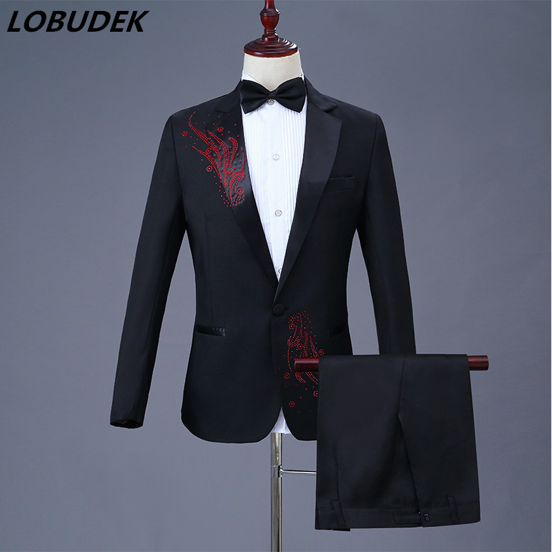 Red Purple Gold Stones Men Suits Wedding MC Host Costume Singer Stage Chorus Studio Prom Party Performance Show Suit Outfit