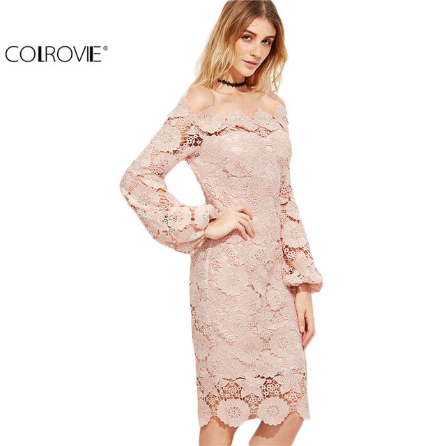 COLROVIE Elegant Dress Women Pink Embroidered Lace Overlay  Long Sleeve  Off The Shoulder  Knee Length Dress