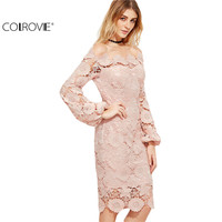 COLROVE Elegant Dress Women Pink Embroidered Lace Overlay Long Sleeve Off The Shoulder Knee Length Dress