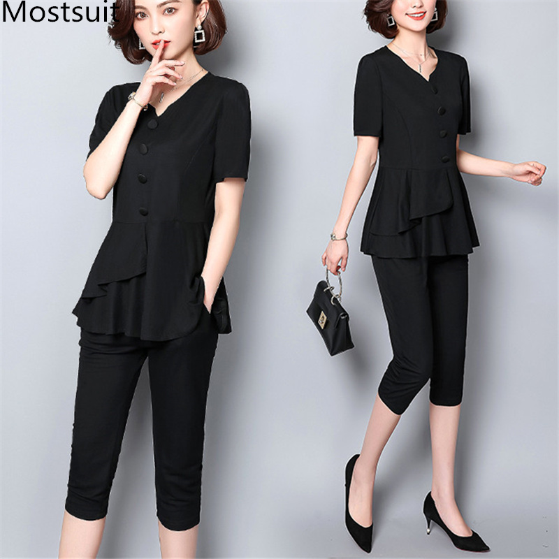 Summer Black Two Piece Sets Women Plus Size Short Sleeve Tops And Cropped Pants Sets Suits Casual Office Elegant Women's Sets 25