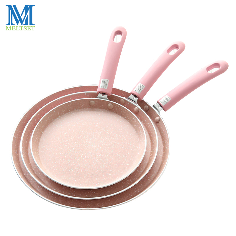 Meltset 3 Sizes Non-stick Frying Pan Aluminium Alloy Induction/ Oven Gas Cooker For No Fumes Fry Egg Pizza Grill Pot 6/8/10 Inch