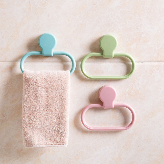 Useful Self Adhesive Towel Ring Round Shape Wall Mounted Washcloth Holder Hanger Bathroom Accessories Home Decoration