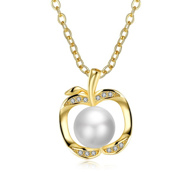 Fashion gold color simulated pearl necklace cubic zirconia apple fashion gold color simulated pearl necklace cubic zirconia apple pendant necklace for women girl gift party mozeypictures Image collections