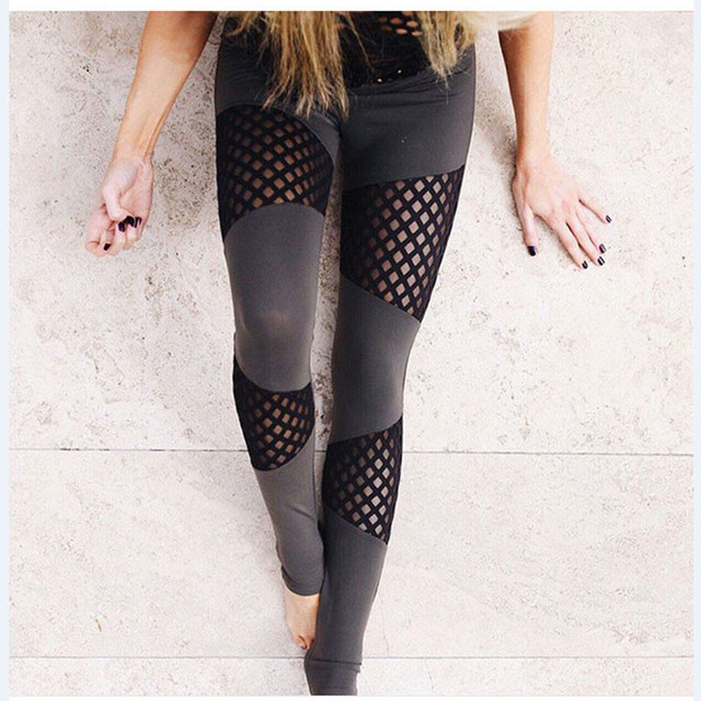 New hollow stitchy splicing leggings for female sporting leggings women fitness soft sexy pants fashion leisure trousers