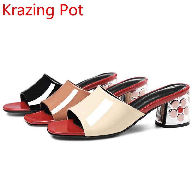 2017 Fashion Peep Toe Genuine Leather Slip on High Heels Slingback Mixed Colors Women Cozy Slippers Handmade Casual Shoes L34