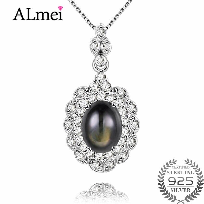 Almei 3ct Star Sapphire Zircon Halo Solitaire 925 Sterling collier en argent Pendentif bijoux fantaisie pour Femmes avec la Boîte 40% FN015