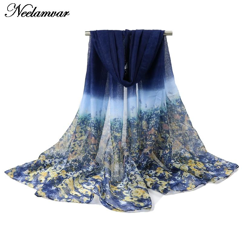 fashion shivering flowers voile scarf women Autumn and Winter thin long shawl echarpe ladies brand scarves Arabic hijab big size