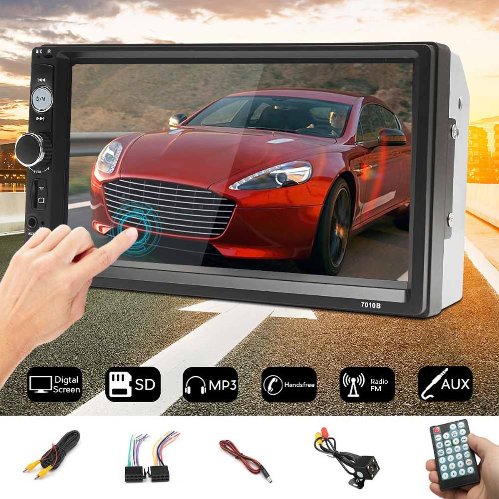 2 Din Car Radio FM Autoradio Bluetooth MP5 Player Touch Screen Video Audio Stereo 7010B Multimedia USB/AUX + Rearview Camera цена 2017